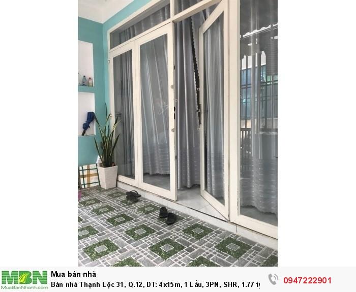 Bán nhà Thạnh Lộc 31, Q.12, DT: 4x15m, 1 Lầu, 3PN, SHR