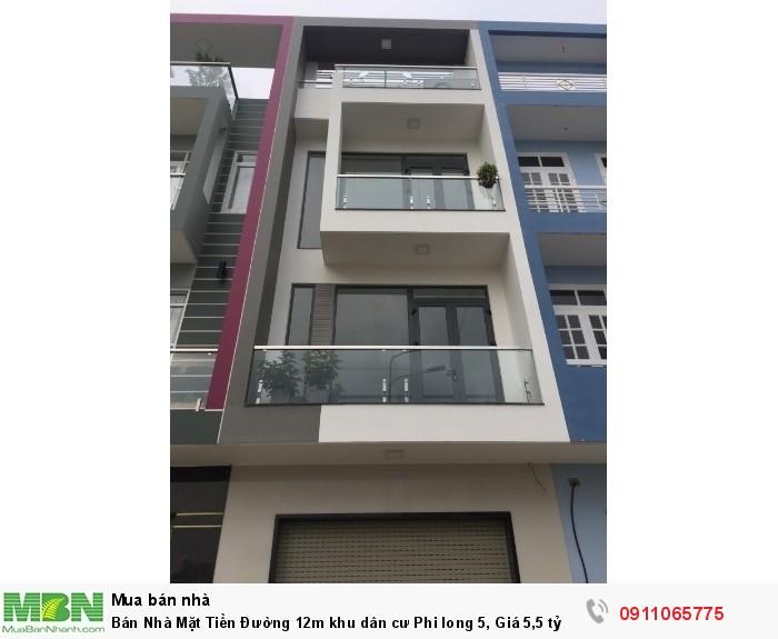 Bán Nhà Mặt Tiền Đường 12m khu dân cư Phi long 5