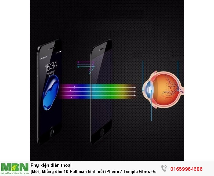 Miếng dán 4D Full màn kính nổi iPhone 7 Temple Glass Đen