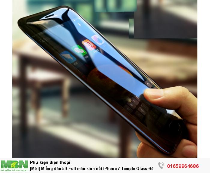 [Mới] Miếng dán 5D Full màn kính nổi iPhone 7 Temple Glass Đỏ