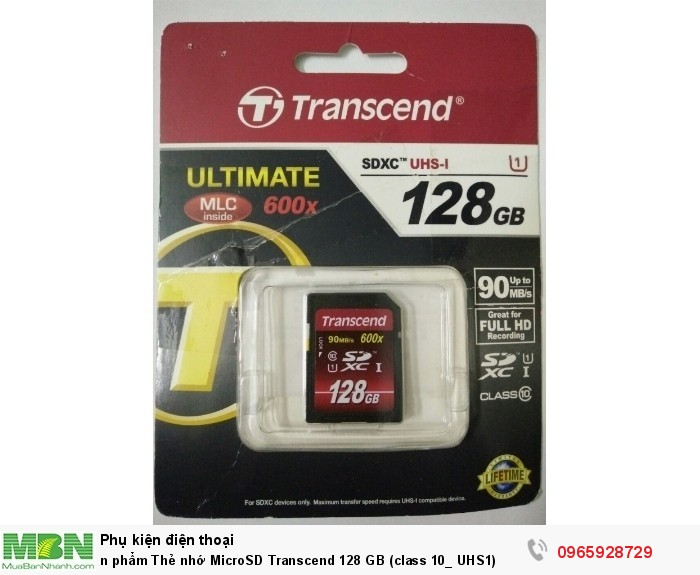 Thẻ nhớ MicroSD Transcend 128 GB (class 10_ UHS1)