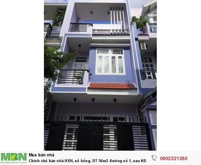Chính chủ bán nhà HXH, sổ hồng, DT 56m2 đường số 1, sau KDC Hồng Long 2.8 tỷ