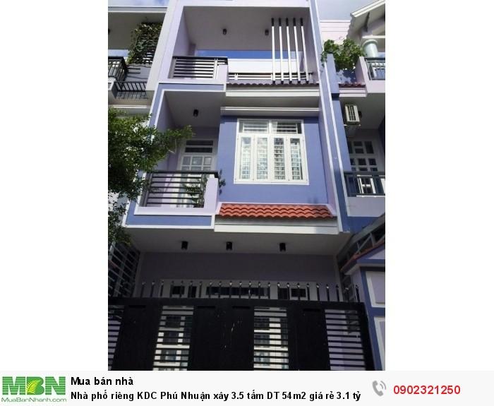 Nhà phố riêng KDC Phú Nhuận xây 3.5 tấm  DT 54m2 giá rẻ 3.1 tỷ thiết kế để xe ô tô