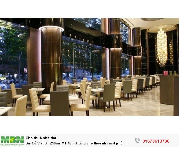 Đại Cồ Việt DT 210m2 MT 16m 3 tầng cho thuê nhà mặt phố