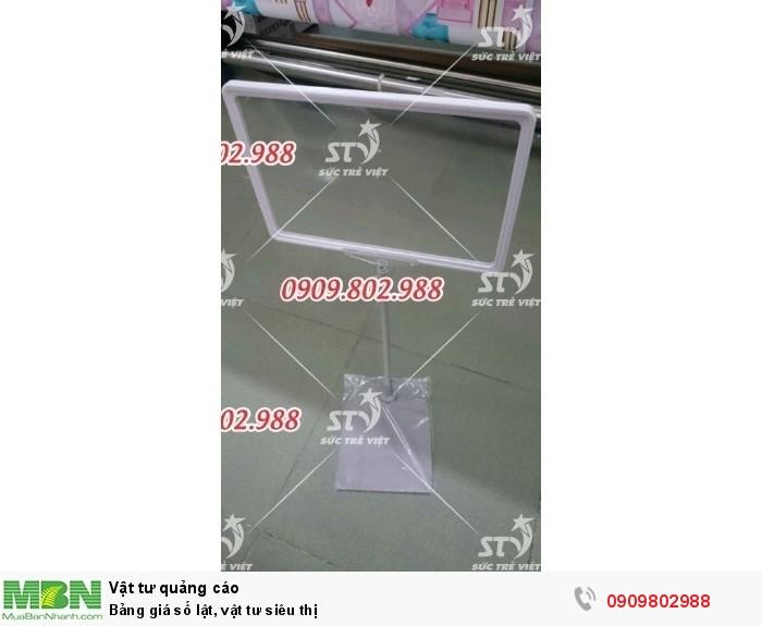Chân khung  bảng giá gồm: Chân tone + Thân nhôm có tăng đơ điều chỉnh chiều cao từ 35 -60cm + Khung bảng giá A3, A4, A5, A6. 0909.802.9885