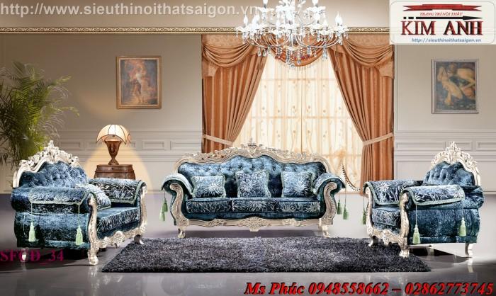 Sofa tân cổ điển ms SFCĐ_46 màu trắng ngà giá rẻ tại Gò Vấp - Nội thất Kim Anh sài gòn
