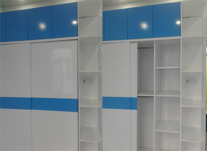 Tủ áo MDF cao cấp sơn Trắng - Xanh cho phòng bé trai0