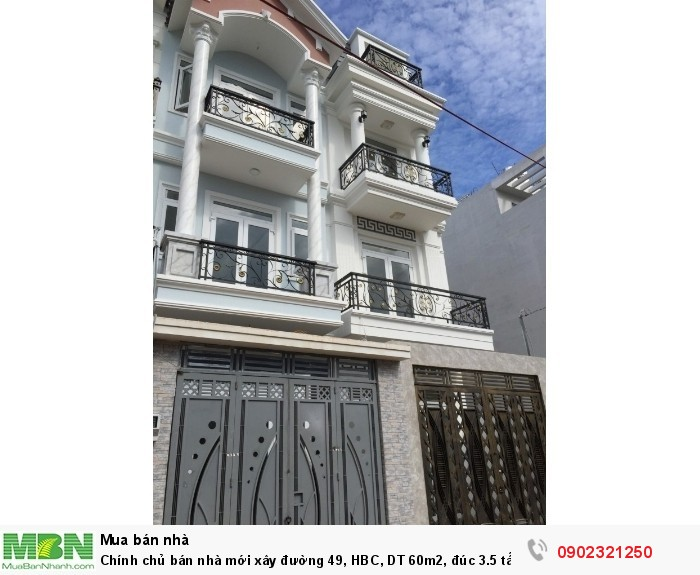 Chính chủ bán nhà mới xây đường 49, HBC, DT 60m2, đúc 3.5 tấm, hình ảnh thực tế đúng giá 3.8 tỷ