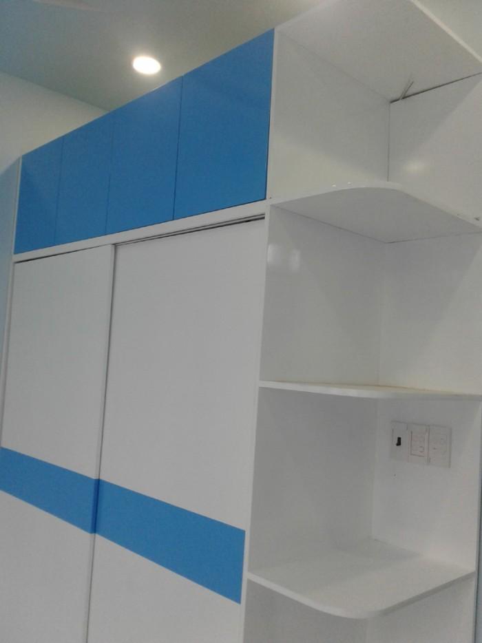 Tủ áo MDF cao cấp sơn Trắng - Xanh cho phòng bé trai2