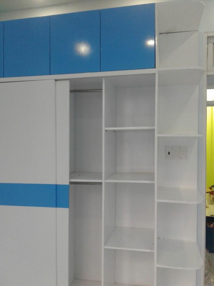 Tủ áo MDF cao cấp sơn Trắng - Xanh cho phòng bé trai1