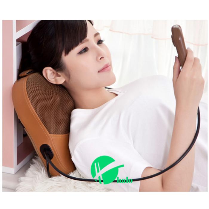 Gối massage Nhật Bản hồng ngoại 6 bi ( có đấm lưng)