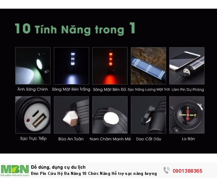Đèn Pin Cứu Hộ Đa Năng 10 Chức Năng Hỗ trợ sạc năng lượng mặt trời - MSN388299