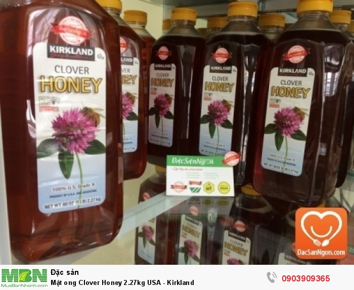 Mật ong Kirkland Clover Honey 2.27kg USA là loại mật ong cỏ ba lá (Clover Honey) đạt chuẩn Mật ong Mỹ hạng A (100% U.S Grade A) đạt chứng nhận