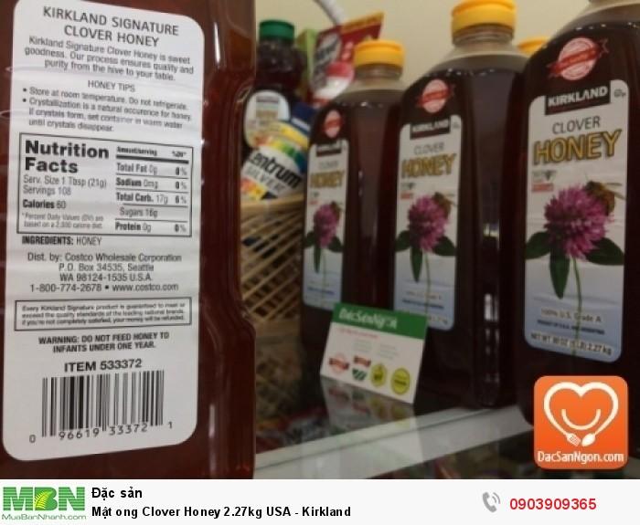 Thông tin trên nhãn chai Mật ong Mỹ Kirkland Clover Honey 2.27kg USA6