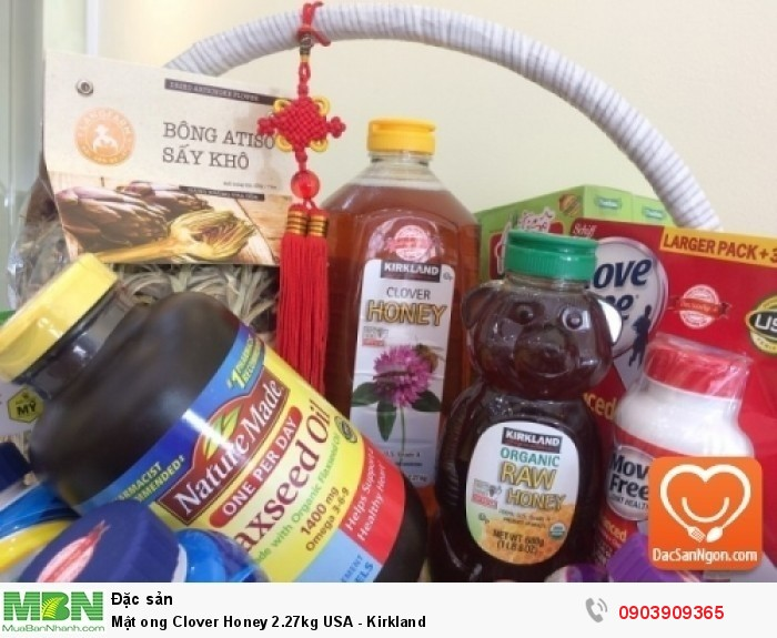 Mật ong Kirkland Organic Honey trong giỏ quà tặng sức khỏe dành tặng người thân | Công ty TNHH Đặc Sản Ngon nhận gói giỏ quà cao cấp các dịp Quà tết, Khai trương, Tân gia, Đầy tháng, Sinh nhật, Mừng thọ... Giỏ quà gồm đặc sản cao cấp, đặc sản nhập khẩu như Mật ong Mỹ, rượu vang, bổ phầm,... cùng đặc sản Việt Nam nổi tiếng chất lượng như Đặc sản Đà Lạt10