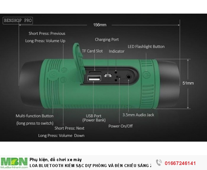Loa Bluetooth Kiêm Sạc Dự Phòng Và Đèn Chiếu Sáng Zealot S113