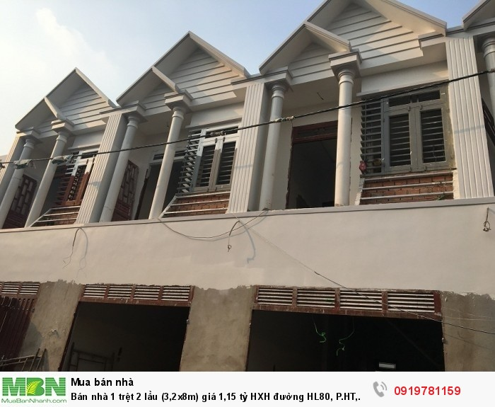 Bán nhà 1 trệt 2 lầu (3,2x8m) giá 1,15 tỷ HXH đường HL80, P.HT, Q12.