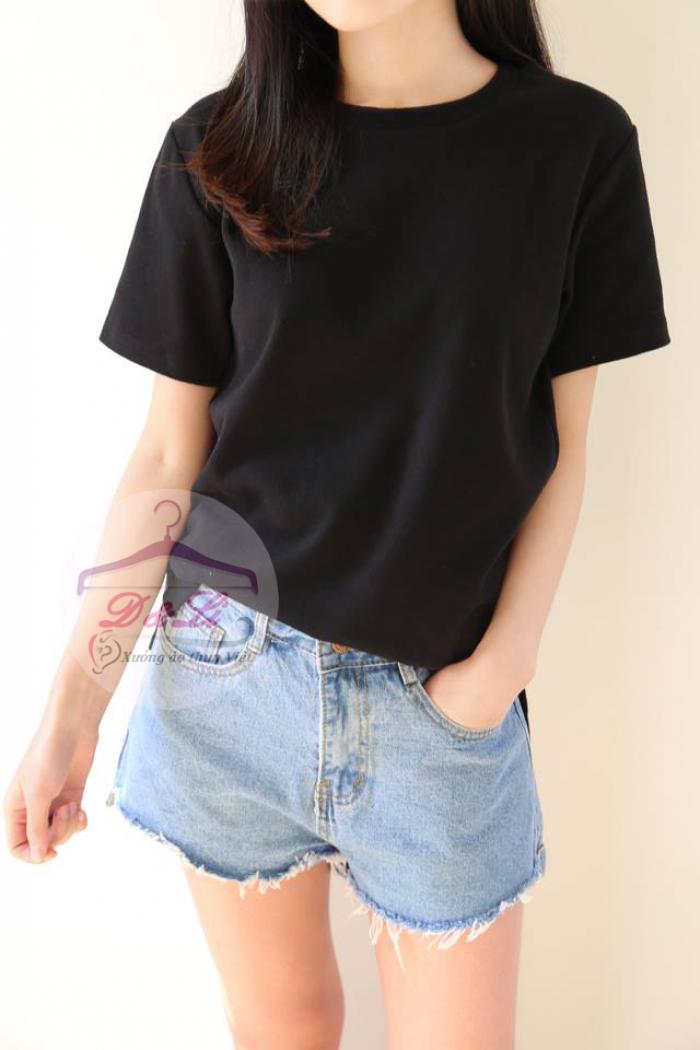Áo thun đen cotton 4 chiều giá sỉ TPHCM5
