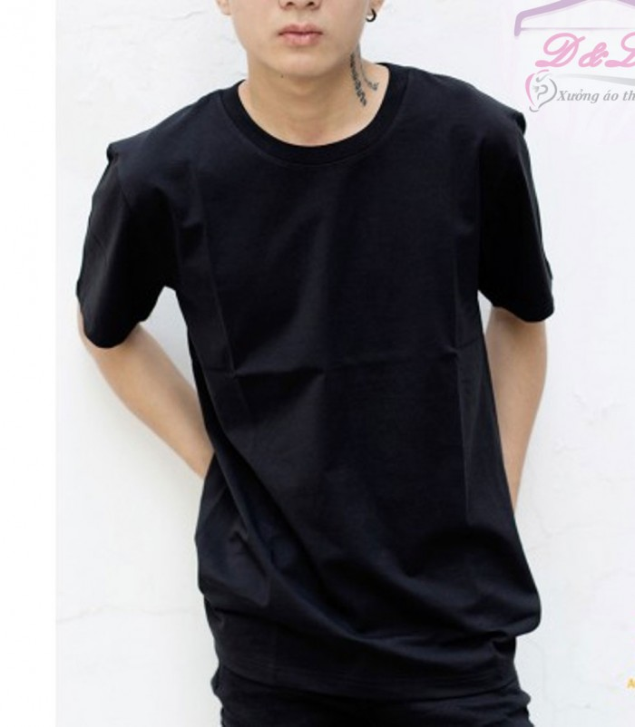 Áo thun đen cotton 4 chiều giá sỉ TPHCM0