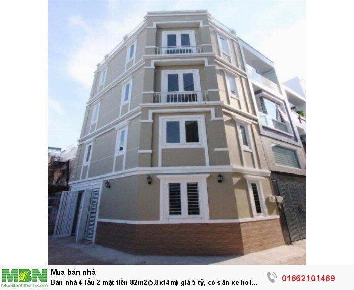 Bán nhà 4 lầu 2 mặt tiền 82m2(5.8x14m) , có sân xe hơi ngay MT đường số 8 Hiệp Bình Phước
