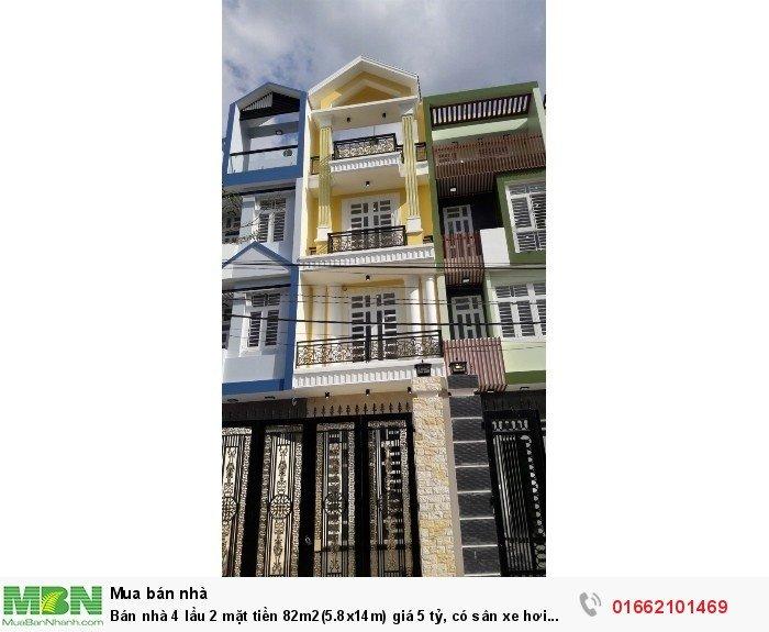 Bán nhà 4 lầu 2 mặt tiền 82m2(5.8x14m) giá 5 tỷ, có sân xe hơi ngay MT đường số 8 Hiệp Bình Phước