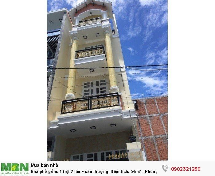 Nhà phố gồm: 1 trệt 2 lầu + sân thượng.