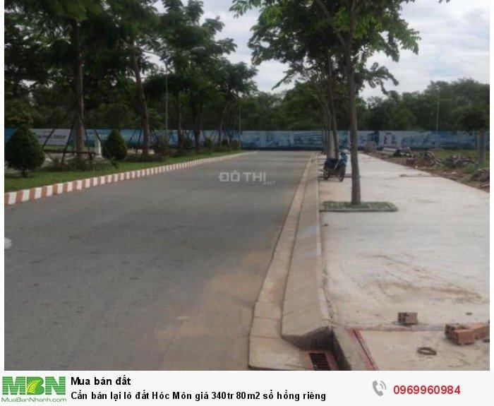 Cần bán lại lô đất Hóc Môn giá 340tr 80m2 sổ hồng riêng