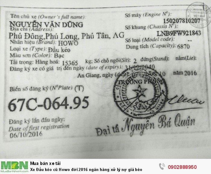 Xe Đầu kéo cũ Howo đời 2016 ngân hàng xử lý nợ giá bèo 6