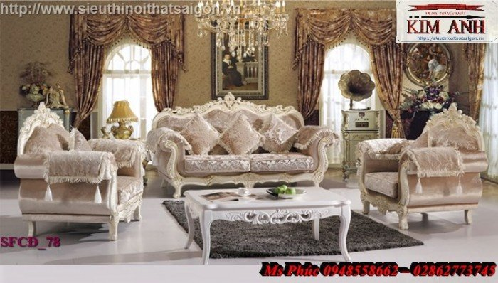 Sang trọng với mẫu sofa tân cổ điển nhập khẩu châu âu ms SFCĐ_8220