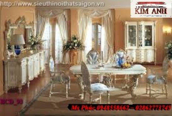 Bàn ăn tân cổ điển đẹp màu xanh ms BCĐ_129 giá rẻ - nội thất Kim Anh21