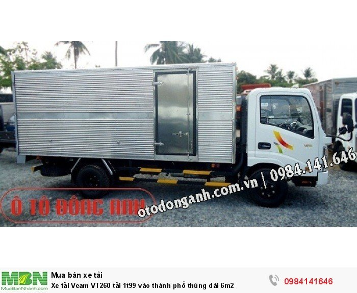 Xe tải Veam VT260 tải 1t99 vào thành phố thùng dài 6m2 3