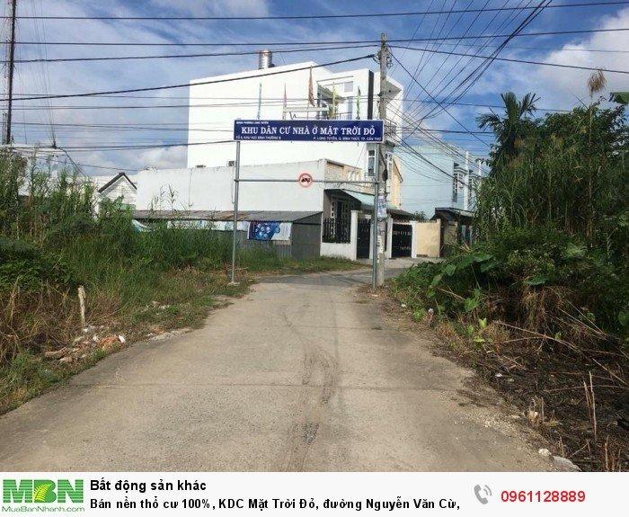 Bán nền thổ cư 100%, KDC Mặt Trời Đỏ, đường Nguyễn Văn Cừ