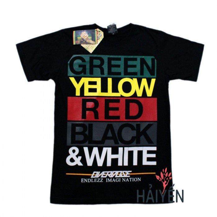 Áo thun Thái Lan đen in chữ Green Yellow Red Black White T0129
