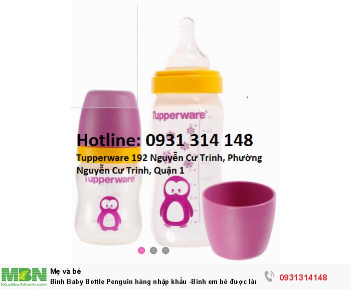 Bình Baby Bottle Penguin Tupperware  hàng nhập khẩu -Bình em bé được làm từ chất liệu nhựa nguyên sinh, không chứa BPA0