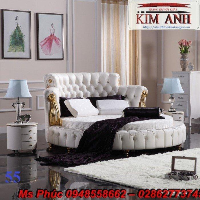 Giường tròn, giường HongKong màu tím ms 70 giá rẻ tại tphcm - nội thất Kim Anh sài gòn11