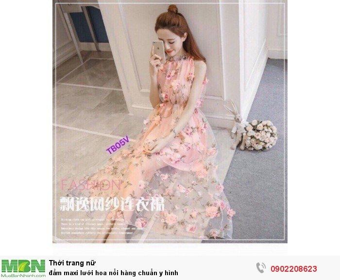 Đầm maxi lưới hoa nổi
