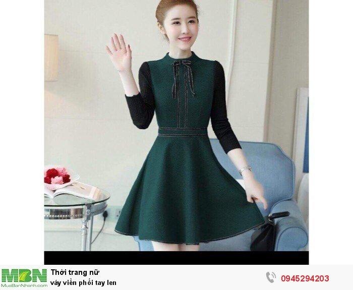 Váy viền phối tay len