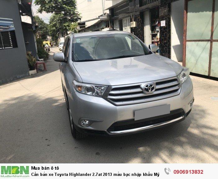 Cần bán xe Toyota Highlander 2.7at 2013 màu bạc nhập khẩu Mỹ