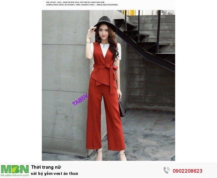 Set bộ yếm vest áo thun