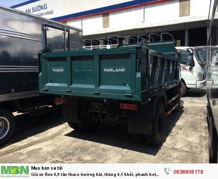 Giá xe Ben 4,9 tấn thaco Trường Hải, thùng 4,1 khối, phanh hơi, giá xe tải ben Long An, Nhà Bè, Củ Chi. 0