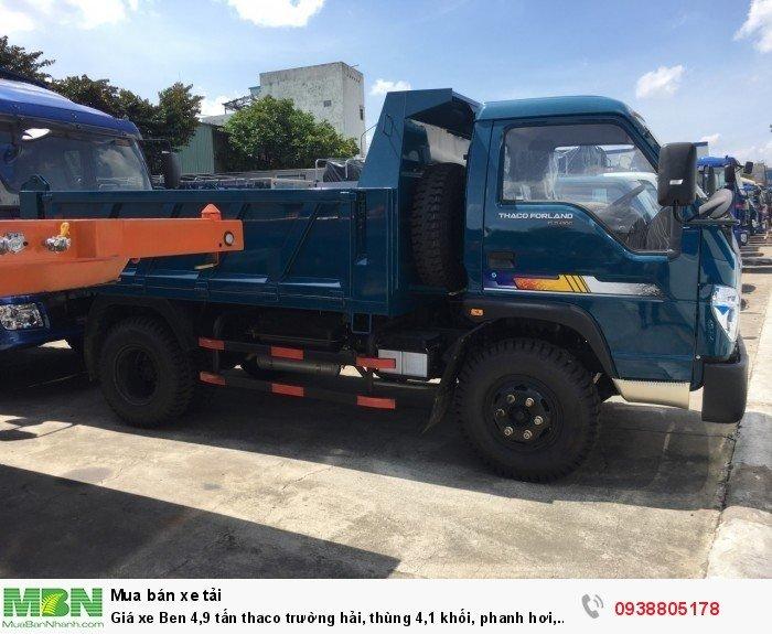 Giá xe Ben 4,9 tấn thaco Trường Hải, thùng 4,1 khối, phanh hơi, giá xe tải ben Long An, Nhà Bè, Củ Chi. 3