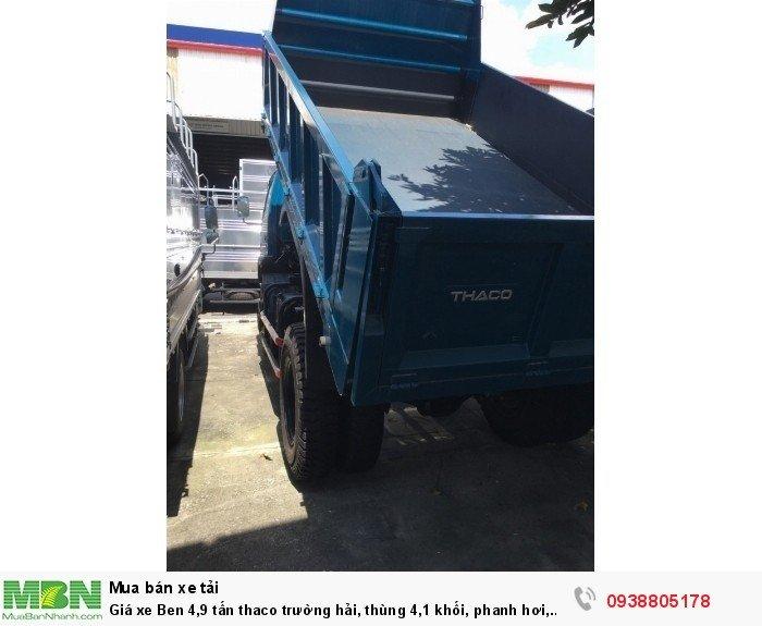 Giá xe Ben 4,9 tấn thaco Trường Hải, thùng 4,1 khối, phanh hơi, giá xe tải ben Long An, Nhà Bè, Củ Chi. 4