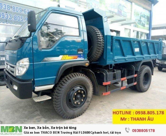 Giá xe ben THACO BEN Trường Hải FLD600Cphanh hơi, tải trọng 6tấn thùng 4,9 khối. Trả 150tr nhận xe. 0