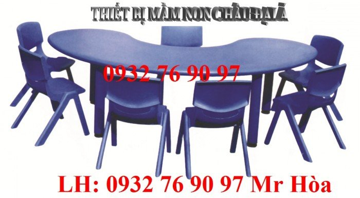 Bàn ghế trẻ em, bàn nhựa hình bán nguyệt cho bé mầm non nhập khẩu nguyên kiện5