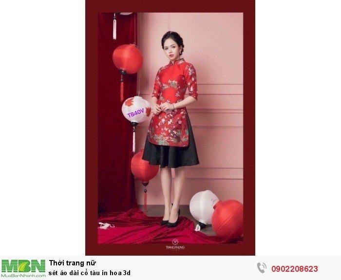 Set áo dài cổ tàu in hoa 3d