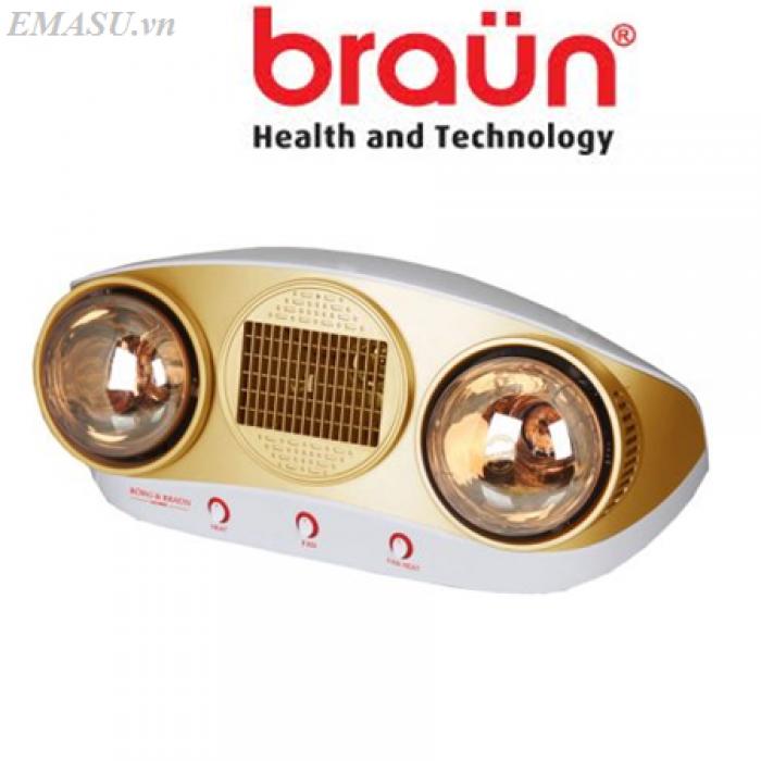 Đèn sưởi Braun (Kohn) 2 bóng thổi gió nóng KU02PG