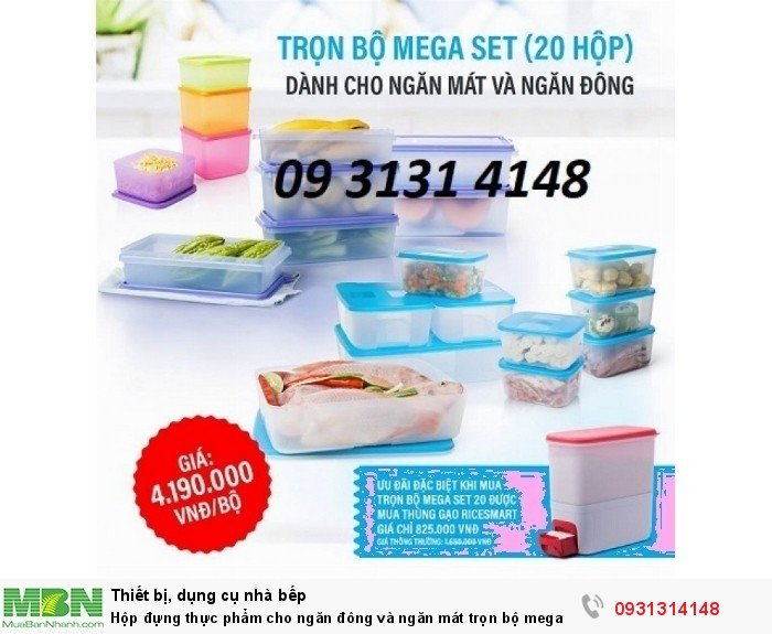 Hộp đựng thực phẩm cho ngăn đông và ngăn mát trọn bộ mega Set 20 món