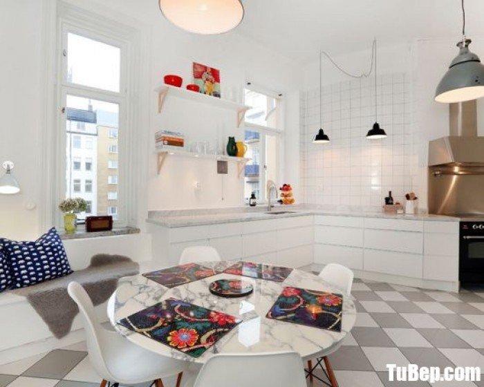 Tủ bếp gỗ Acrylic màu trắng chữ I đơn giản – TBT84