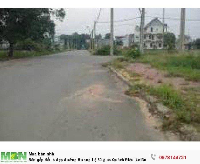 Bán gấp đất lô đẹp đường Hương Lộ 80 giao Quách Điêu, 4x13m