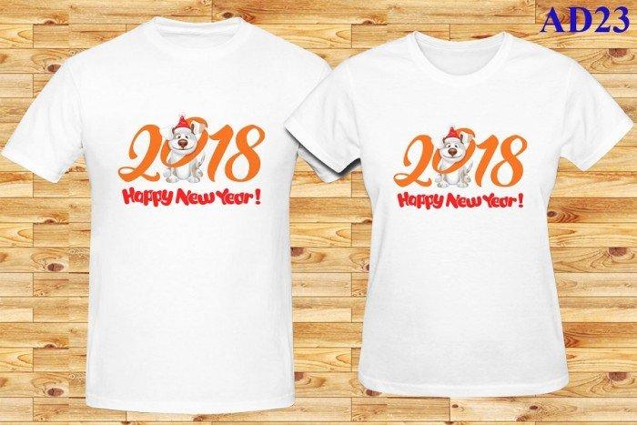 Áo thun đôi Happy New Year 2018